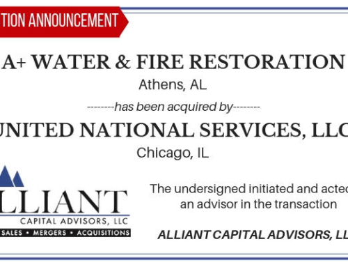 Transaction Announcement: A+ Water & Fire Restoration